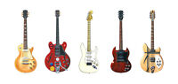 Five Guitars from Woodstock 1969 Greeting Card, DL size