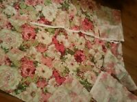 Vintage Pink Fabric Floral Impressionism Shabby Sewing Doll Quilting Blythe