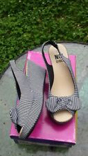 NO Shoes Stripe Wedges Peep Toe Bow Slingbacks Heels Size 7