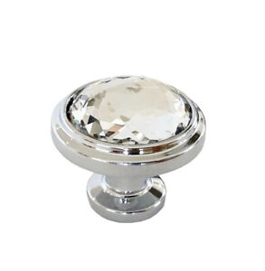 Clear Crystal Diamond Chrome Door Knobs. Cupboard Drawer Cabinet. UK Stock.