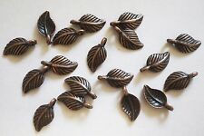20 Metal Antique Copper Leaf Charms - 15mm x 7.5mm
