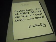 JONATHAN KING send congratulations to 10 CC 1975 Promo Display Ad mint condition