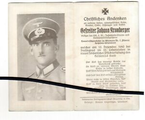 2.WK  Sold.-Sterbebild, J.Kronberger, bei STALINGRAD1942 gestorben