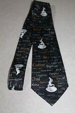 New Coffee Shop Mens Necktie Expresso Cappuccino Food Restaurant Black Tie