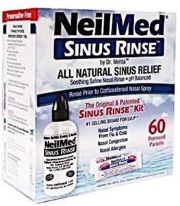 Neilmed Sinus Rinse Bottle with 60 x Pre Mixed Sachet Adult Nasal Irrigation Kit