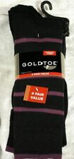 Gold Toe Fashion Stripe Tipper 4 Pack Socks,Blk W/Purple Stripes Shoe Size: 6-12