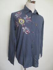 Vintage Hemd AJ ARMANI JEANS M kurzarm Blumen Stickerei blaugrau /I1