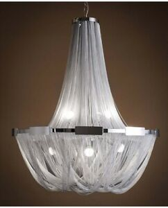 New LED Creative Silver Aluminum Chain Ceiling Lamp Chandeliers Fixtures Bedroom