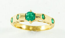 Emerald and 18K Yellow Gold Vintage Ring, Size 8.5