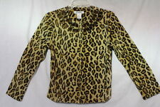 ULTRASPORT Brown Leopard Print Cotton ZipUp Top Sparkle DecorCollar Sz PS B46