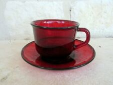 Arcoroc France Ruby Red Glass Cup & Saucer Beautiful