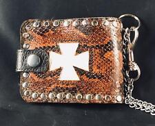 Iron Cross Genuine Sea Snake Skin Leather Wallet Key Belt Chain Biker feeanddave