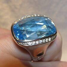 John Hardy LARGE Batu Bamboo Rectangle Sky Blue Topaz White Sapphire Ring 7