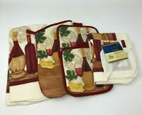 Kitchen Towel Potholders Oven Mitt Dish Cloth Red White Wine Tuscany 8-piece set