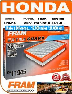 FRAM CA11945 Engine Air Filter Extra Guard Fit 15-16 L4 2.4L HONDA CR-V
