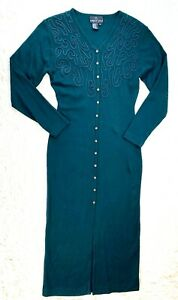 Vintage Carole Little Sz Small Duster Cardigan Dress Green Embroidered Long EUC
