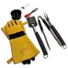Vision Grills Barbecue Accessory Kit - Gloves,3 Piece Tool Set, Sauce Pot, Brush