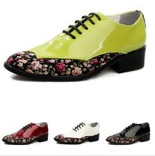 Mens Floral Pointy Toe Oxfords Faux Patent Leather Dress Formal Business Shoes @