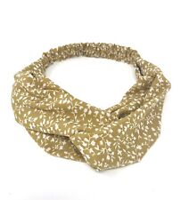 Ladies Stretch Hairband Mustard Yellow Floral  Twisted Knot Elasticated Headband