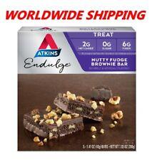 Atkins Endulge Nutty Fudge Brownie Treat Bars 7.05 Oz 5 Ct WORLDWIDE SHIPPING