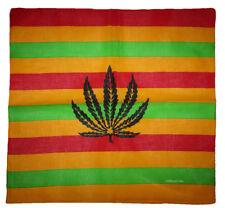 "Wholesale Lot of 6 Striped Weed Leaf 100% Cotton 22""x22"" Bandana"