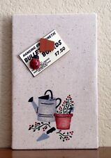 "Bulletin Board Hanging/Magnetic hand stenciled with custom pins ""Gardening"""