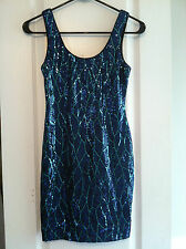 Lily Rose XS black seafood green blue sequin sparkly cocktail party dress short