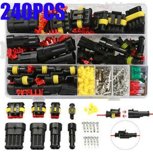 240Pcs 12V Car Electrical Wire Connectors Terminals Assortment Waterproof Kits