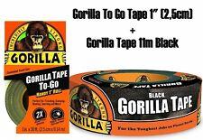 Gorilla Tape Black 11m + Gorilla To Go Tape SET Super Stabiles Klebeband schwarz