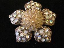 Lovely Liz Claiborne Beaded Rhinestone Flower Brooch Pin