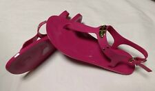 NEW MICHAEL KORS RASBERRY THONG SANDALS WITH MK PLATE, SIZE 8