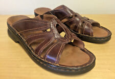 Clarks Women's Sz 6M Brown Leather Upper Slip On Open Toe VERY NICE
