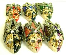 Wall Mask Set Venetian Miniature Of 6 Decoration Hand Maid With Bells Home Decor