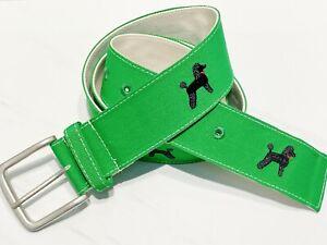 Embroidered Belt Black Poodle Dog Gift Preppy Green Belt Mens Womens Pet Parent