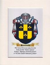 "ARMORIAL COAT OF ARMS FAMILY CREST MOUNTED CANVAS PRINT 9"" X 7"" PERFECT GIFT"