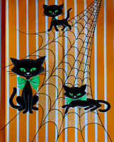 "1 Rare Vintage Crepe Paper Art Halloween Black Cats Green Eyes Panel 11.5x15""in"