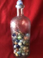 Vintage Glass Bottle W/LOTS OF Vintage MARBLES SHOOTERS, Qty (135)#7