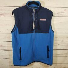 Vineyard Vines Grid Fleece Vest NWT Boys XL Full Zip Hull Blue New MSRP $78