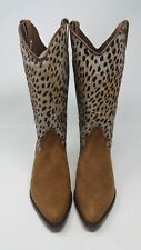 Women's Cheetah Print Suede Cowboy Boots Guess By Georges Marciano Size 5 1/2 B