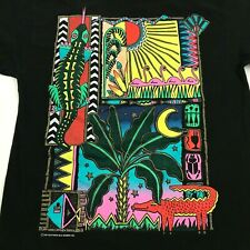 VINTAGE Storybook Shirt Size Large L Loose Black Gold Glitter Southern Tropical