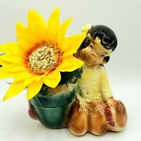 Vintage 1940s Royal Copley Little Costumed Boy Drum Planter / Vase ART Decor