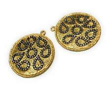 Gold Charms, Large Charms, Disc Charm, Jewelry Supplies, CZ Charms,, Bulk Charms
