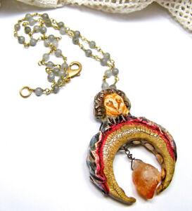 Owl Crescent Moon Totem Spirit Animal Citrine Gemstone Necklace Labradorite