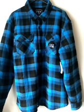Fox Racing Motorcycle Mens Sherpa Flannel Blue Steel Size Extra Large Brand New