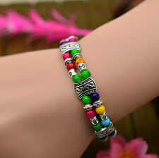 Elegant Womens Tibetan Tibet Silver Beads Lucky Bangle Bracelet Fashion Jewelry