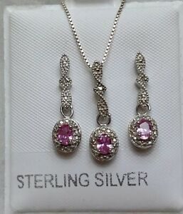 Victorian style created pink sapphire jewelry set