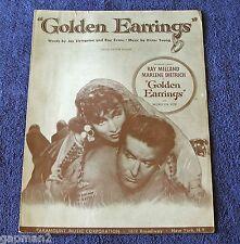 Golden Earrings 1946 Paramount Sheet Music Ray Milland Marlene Dietrich