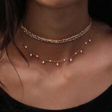 Women Shining Multi-Layers Diamond Star Pendant Necklace Chain Choker Jewelry