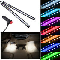 2x12LED White Car Cigarette Light Strip Lighter Interior Floor Atmosphere Decor