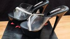 New Sexy Clear & Black Diamante Trim  6 inch Heel 2 Inch Platform Mules Size 7